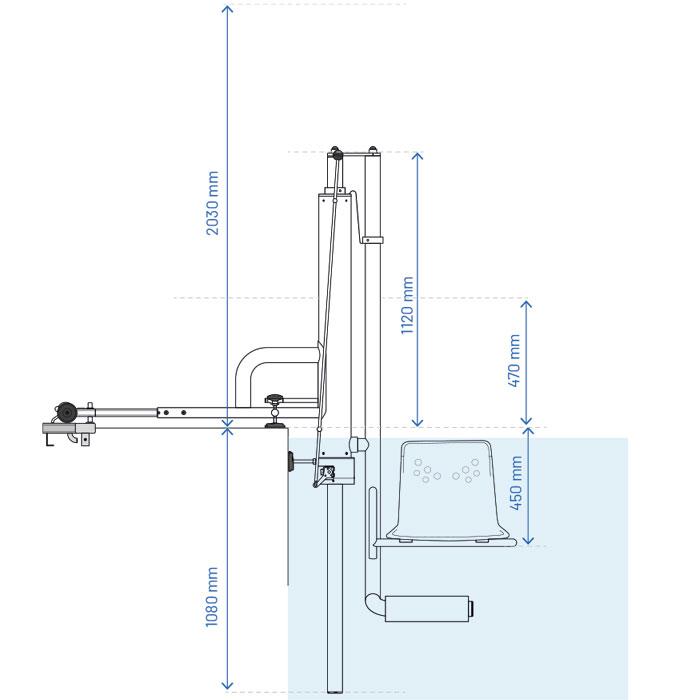 Croquis del alzado del ascensor de piscina para discapacitados físicos Access B1